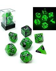 Bescon Tweekleurige Glow-in-the-Dark Polyhedral Dobbelstenen Set SPOOKY ROCKS, Lichtgevende RPG Dobbelstenen Set d4 d6 d8 d10 d12 d20 d% Baksteen Box Verpakking