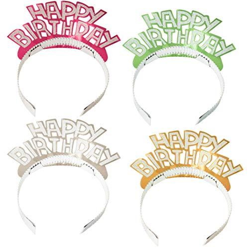 - Juvale 24-Pack Happy Birthday Glitter Tiara Headbands, 4 Assorted Colors