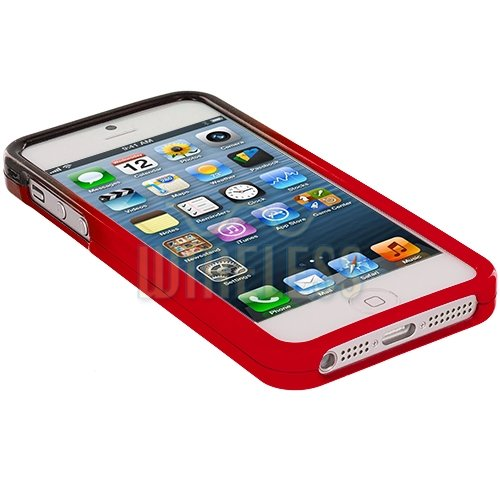 myLife (TM) Red + Black Two Tone Series (2 Piece Snap On) Hardshell Plates Case for the iPhone 5/5S (5G) 5th Generation Touch Phone (Clip Fitted Front and Back Solid Cover Case + Rubberized Tough Armor Skin + Sealed Inside myLife Authorized Packaging)