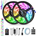 LED Strip Lights 32.8ft, KeShi LED 5050 Music-sync Strip Lights, RGB Color Changing Tape Lights with Triple Adhesion & Remote Control, Waterproof Flexible Rope Light for Bar Home Decoration