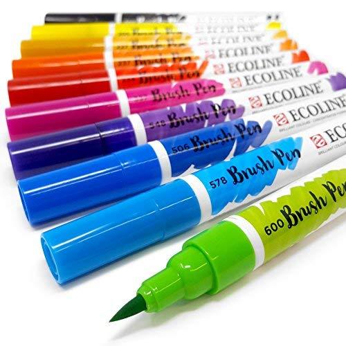 Royal Talens Ecoline líquido acuarela dibujo pintura pinceles de acuarela–Juego de 10en portafolios de plástico