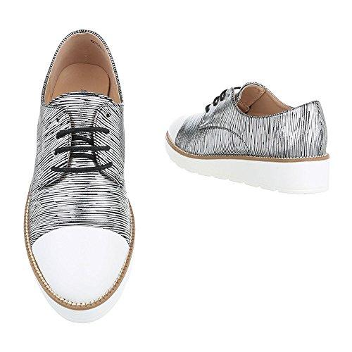 Ital-Design Women's Lace-Up Flats Schwarz Silber 6355-P MLI8V