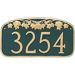 "Montague Metal Maple Leaf Address Sign Plaque, 7.25"" x 13.5"", Hunter green/Gold"