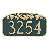 Montague Metal Maple Leaf Address Sign Plaque, 7.25'' x 13.5'', Brick Red/Gold