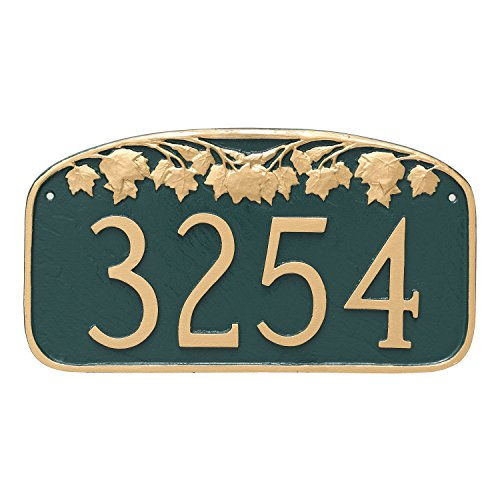 Montague Metal Maple Leaf Address Sign Plaque, 7.25'' x 13.5'', Brick Red/Gold by Montague Metal