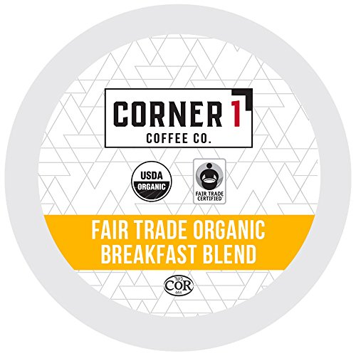 Corner One Coffee, 100 Ct. Single-Serve K-Cup, Fair Trade Organic Breakfast Blend, Keurig 2.0 Compatible
