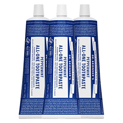 Dr. Bronner's – All-One Toothpaste (Peppermint, 5 ounce, 3-Pack) – 70% Organic Ingredients, Natural and Effective…