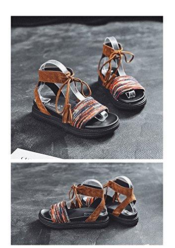 Sandalias 1 Hong Verano Las Un De Color Plana con De Tacón Mujeres Playa Sandalias Base En Gruesas Bajo MeiMei Bizcocho De Roma Caudal De con Kong Hembra g4wAExgq