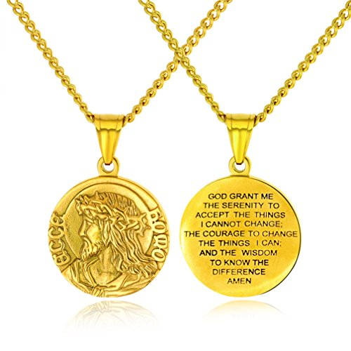 IFUAQZ Men's Women's Stainless Steel Jesus Head Medal Pendant Christ Crown of Thorns Religious Necklace Gold ()