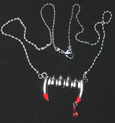 Fang Banger Costume (True VAMPIRE FANG BLOOD DROP PENDANT NECKLACE-Banger Bite Gothic Costume Jewelry)