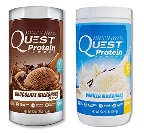 Quest Nutrition Quest Protein sqNIdF Powder, Chocolate Milkshake/Vanilla Milkshake 2lb Tub (1 of Each) by Quest Nutrition