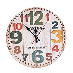 REYO,Vintage Style Non-Ticking Silent Antique Wood Wall Clock for Home Kitchen Office (A)
