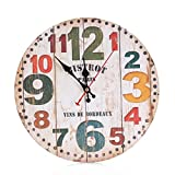 Cheap REYO,Vintage Style Non-Ticking Silent Antique Wood Wall Clock for Home Kitchen Office (A)