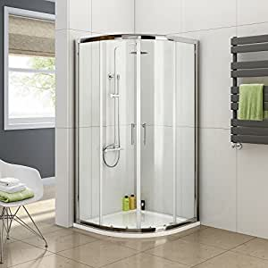 900 x 900 Quadrant 6mm Thick Sliding Glass Shower Enclosure with Tray + Free Waste by iBathUK