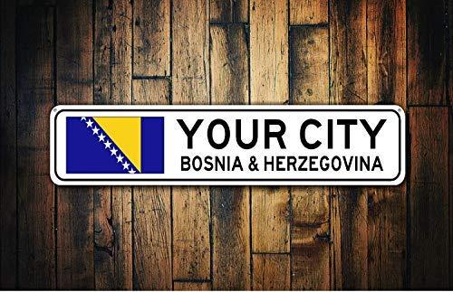 Poste de Pared o Regalo de inauguraci/ón de la casa qidushop Se/ñal de la Bandera de Bosnia y Herzegovina para Recuerdo de la Ciudad de Bosnia y Herzegovina de Metal para decoraci/ón del hogar