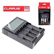 Klarus CH4S Smart Charger, 4 Bay, For NiMh, NiCd, Li-ion, LiFePO4 Batteries, Black