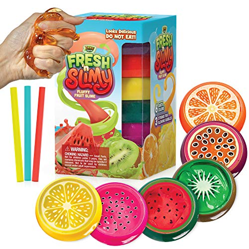 YoYa Toys Fresh 'N Slimy Fluffy Fruit Slime [6-Pack] | Kiwi, Lemon, Orange, Watermelon, Dragon Fruit & Passion Fruit Sludge Slimes with 3 Straws to Make Bubbles | Great for Kids & Adults