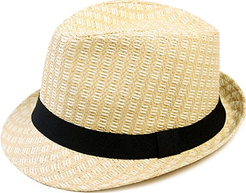 Livingston Men's Lovely Two Toned Structured Summer Straw Fedora Hat, Beige,L/XL (Purple Elegance Wool Hat)