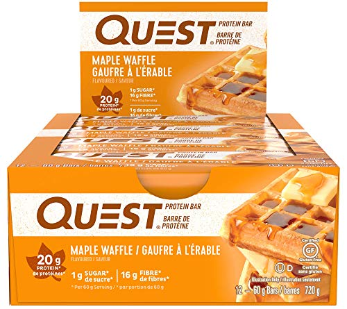 Quest Nutrition Maple Waffle Protein Bar, High Protein, Low Carb, Gluten Free, Soy Free, Keto Friendly, 12 Count ()