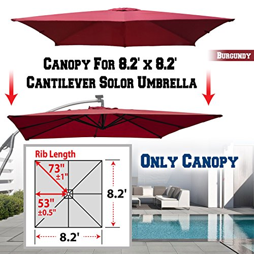 BenefitUSA Replacement Umbrella Canopy for 8.2ft x 8.2 ft 8 Ribs (Canopy Only) (Burgundy)