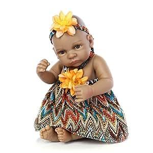 "Terabithia Mini 11"" Black Alive Reborn Baby Dolls Silicone Full Body African American Girl"