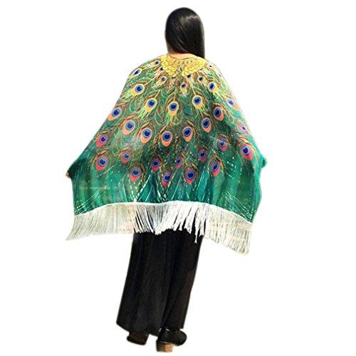 VESNIBA Bohemian Phoenix Print Tassels Shawl Fairy Ladies Costume Accessory (Green-1) ()