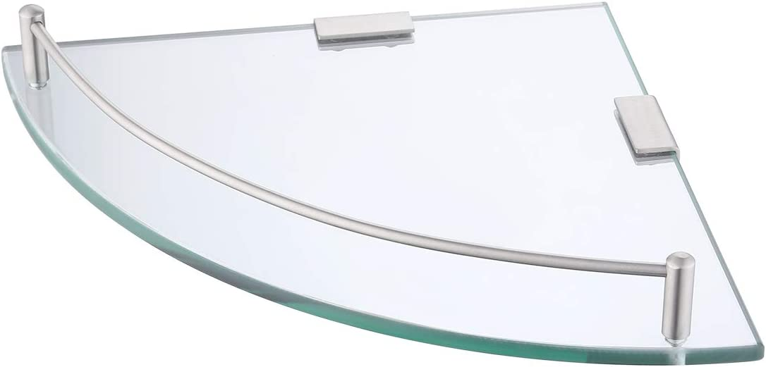 von  Glasregal Duschregal Duschablage Ecke Eckregal Dusche Glas Ablage 7mm Badezimmer Wandregal Edelstahl SUS304 Glasablage mit Regalhalter Wandmontage Geb/ürstet BGS2101A-2 Umi