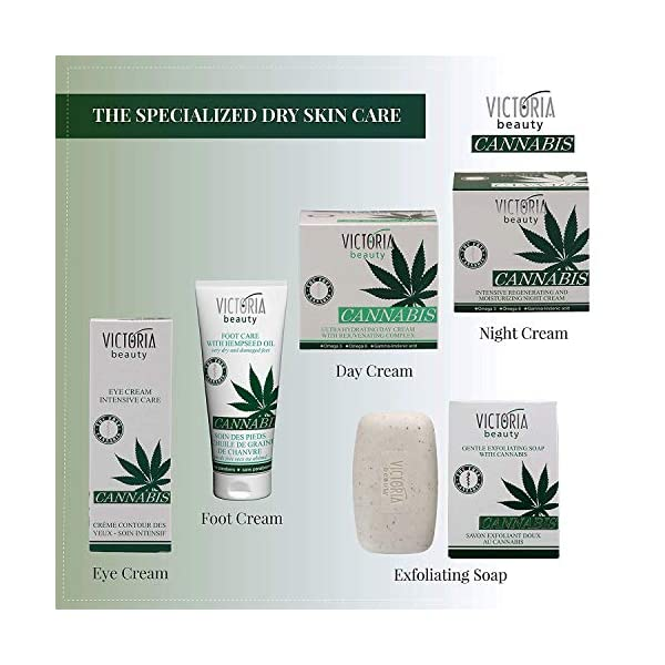Best Women Dry Face Care Set – Cannabis Day and Night Cream – Anti-aging Moisturizer – Creams Suitable for Eczema-prone, Itchy and Sensitive Skin, 2x50ml
