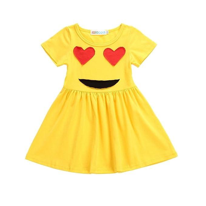 Lenfesh Casual Mini Vestidos de Emoticon Amarillo Para Niña, Vestidos de Manga corta de Round