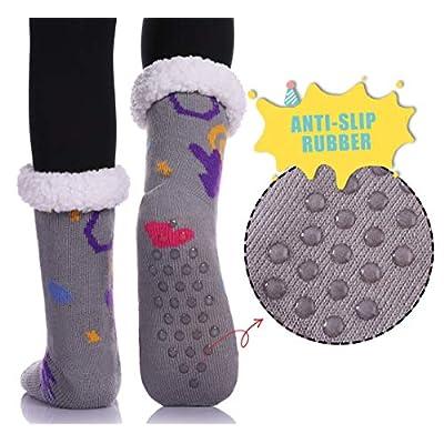 YEBING Women's Cute Knit Cartoon Animal Face Soft Warm Fuzzy Fleece Lining Winter Home Slipper Socks (Asymmetry Cat) at Women's Clothing store