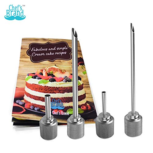Whipper Injector Cream Tips 4 Set, Whip Dispenser Infusers: Make Delicious Filled Pastries! Stainless Steel Pastry Filler Whipping Siphons for Cupcakes, Profiteroles & Injecting Sauce to Meat ()