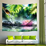 Floral Spa Decor Lotus Bamboo Stems Stones Japanese Alternative Feng Shui Elements Therapy Design Zen Tapestry Wall Art Hanging for Bedroom Living Room Dorm 71 X 60 Inches Wall Blankets