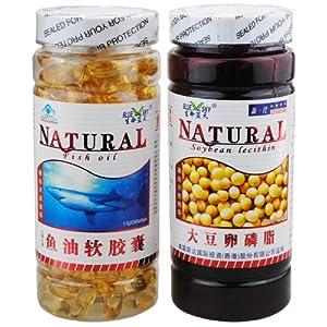 大豆卵磷脂软胶囊_(蓝帽 红枫叶牌)(深海)鱼油软胶囊(1000mg*200粒)/瓶 + 大豆卵磷脂