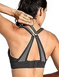 CRZ YOGA Women's High Impact Wirefree Padded Workout Sports Yoga Bra Charcoal Heather M