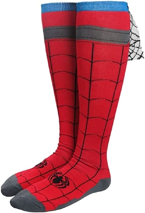 0d499e7c14d Amazon.com  Marvel Comics Spider-Man Costume Knee High Cape Socks  Clothing