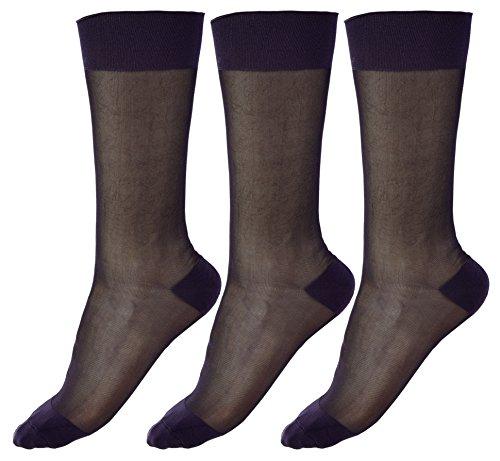 Mens Thin Socks Silk Sheer Trouser Sox Mid-Calf Over the Calf Cool For Summer 3 Packs
