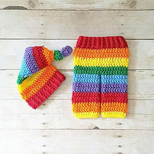 Crochet Rainbow Baby Hat Beanie Top Knot Pants Diaper Cover Set Miscarriage  Infant Newborn Photography Photo Prop Baby Shower Gift Present