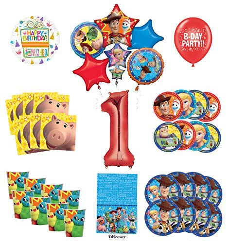 Toy Story 1st Birthday Party Supplies 8 Guest Decoration Kit with Woody, Buzz Lightyear and Friends Balloon Bouquet -
