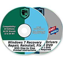 Windows 7 Install Reinstall Recovery Repair Disk for 32 & 64-Bit PC Systems + Automatic Drivers 2018 Installation 2 DVD Set | Home Premium & Professional