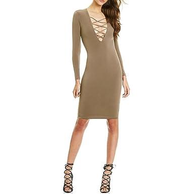 1fcb6dd8d76 Eleery Femme Mi-longue Robe Sexy Décolleté Moulante Col V Ajusté Clubwear  Longues Manches Elastique