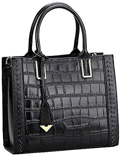 Menschwear Sac à main en cuir véritable avec sac à bandoulière gris noir