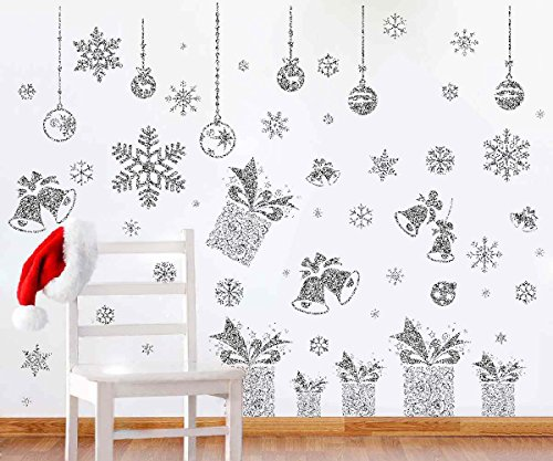 Joiedomi 80 Pcs Glitter Snowflakes Window Wall Peel & Stick Decals Holiday Winter Christmas Home Decorations Snow White Stickers (Also including Jingle Bell, Gift Box , Ornaments - Wall Decals Christmas