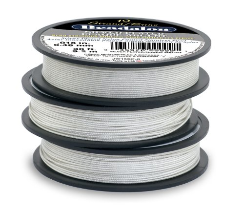 Beadalon 19-Strand Bead Stringing Wire, 0.018-Inch, Silver Plated, 100-Feet ()