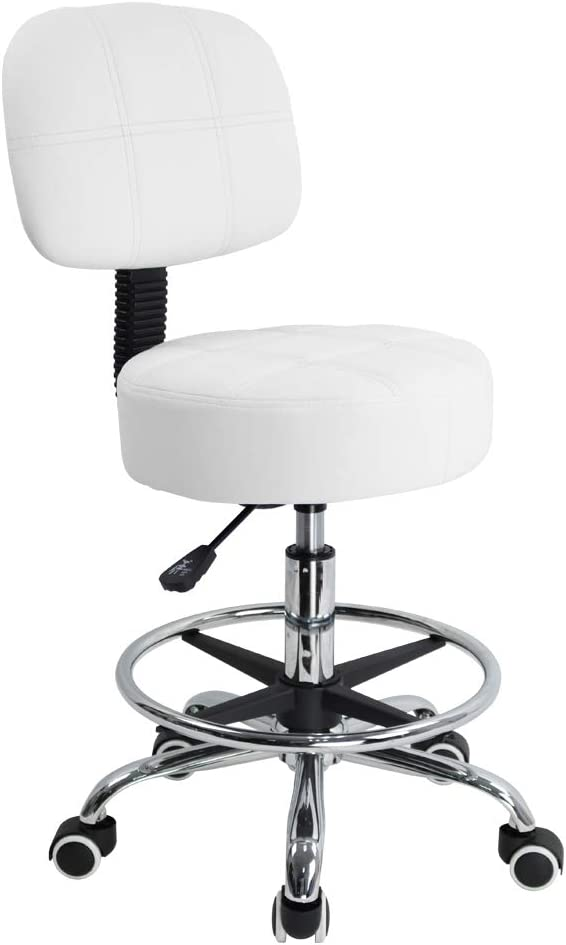 KKTONER Swivel Round Rolling Stool PU Leather with Adjustable Foot Rest, Height Adjustable Task Work Drafting Chair with Back