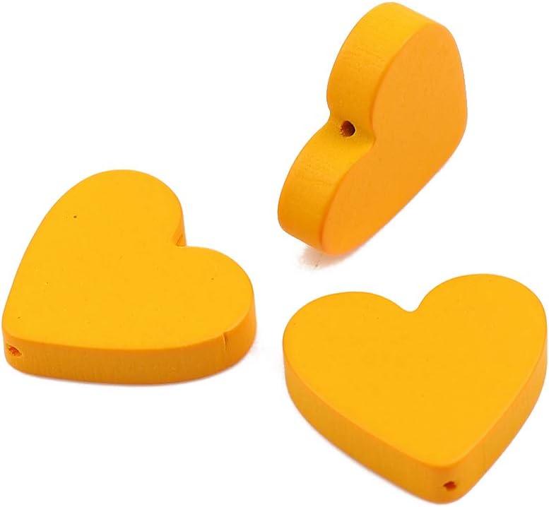 SiAura Material 30 cuentas de madera en forma de corazón de 19 x 21 mm con 1,1 mm y 1 agujero plano para manualidades