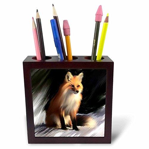 3dRose ph_3350_1 Fox Tile Pen Holder, 5-Inch