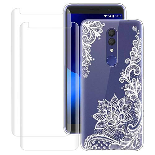 for Alcatel Onyx, Alcatel 1x 2019 Case with 2 Pack Glass Screen Protector Phone Case for Men Women Girls Clear Soft TPU with Protective Bumper Cover Case for for Alcatel 3 / Revvl 2 -Flower