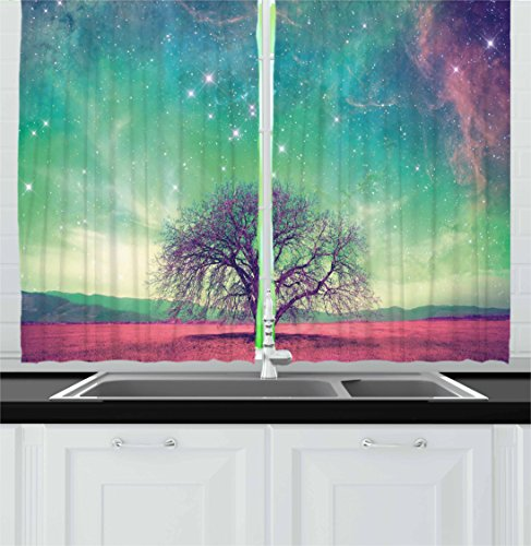 Ambesonne Night Sky Kitchen Curtains, Red Alien Planet Landscape with Tree over with Many Stars Image, Window Drapes 2 Panel Set for Kitchen Cafe, 55 W X 39 L Inches, Light Yellow Blue and Pink Review