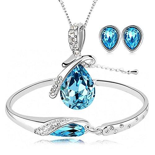 ISAACSONG.DESIGN Silver Tone Healing Crystal Rhinestone Drop Pendant Necklace, Bracelet, Earring Set for Women (Blue)
