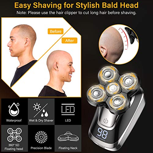 Head Shaver for Bald Men 5 in 1 Cordless Men's Electric Shavers with LED, Rechargeable Wet & Dry Rotary Shaver Waterproof Nose Beard Trimmer Hair Clipper Grooming Kit